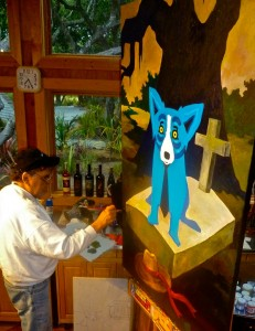 """Rodrigue paints """"He Stopped Loving Her Today"""" in his California studio on May 25, 2013."""