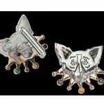 Mardi Gras Cuff Links: Silver with Gold Collar/Gemstones