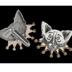 Mardi Gras Cuff Links: Silver with Gold Collar