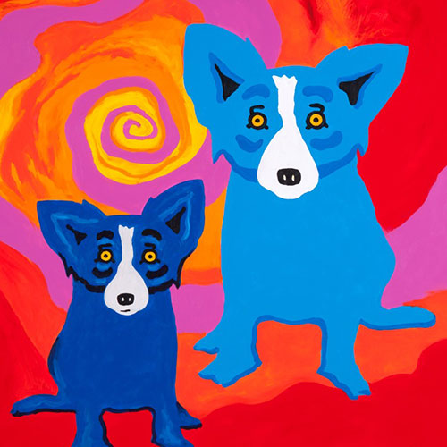 Estate Blue Dog Prints